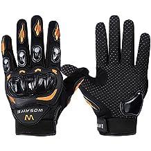 3d transpirable moto Motocross Equitación ATV Racing Guantes de dedo completo Ciclismo MTB guantes de ciclismo para bicicleta BMX, mujer hombre, naranja