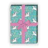 Einhorn Geschenkpapier mit Herzen für tolle Geschenk Verpackung und Überraschungen (4 Bogen, 32 x 48cm), auf türkis