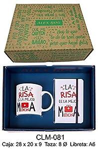 RM- Conjunto libreta y Taza mug con Mensaje,la Risa es la Mejor Sets de Material Escolar (1)