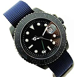Bacoo 40mm Parnis Automatic GMT Sapphire Glass Date Mechanical Men Watch