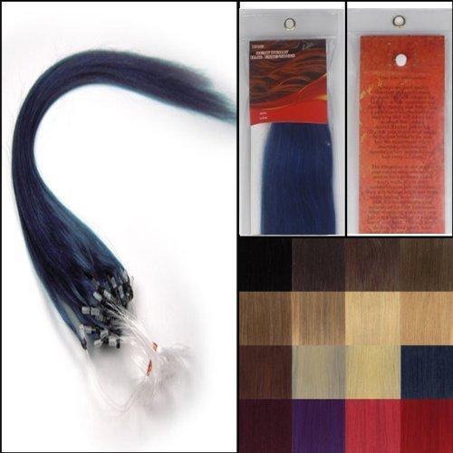45.7cm Lisse Boucles Micro Anneau Perles Pointu Cheveux Humains Extensions 100 s Bleu Femmes beauté Hairsalon Style Motif 0,5g/s