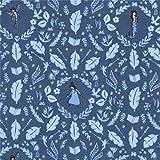 Michael Miller Blaues Strickgewebe mit Märchenfiguren