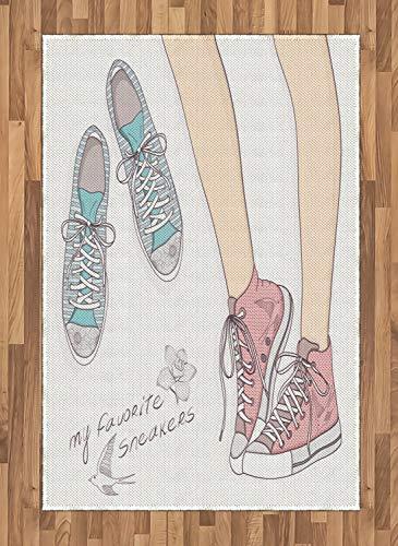 ABAKUHAUS Teen Zimmer Teppich, Mädchen Schuhe Floral, Deko-Teppich Digitaldruck, Färben mit langfristigen Halt, 120 x 180 cm, Hellrosa Pfirsich (Zimmer Teppiche Für Teens)