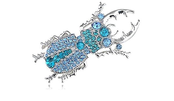 SAPHIR AIGUE-MARINE BLEU CRISTAL STRASS Beetle Bug Costume Bijoux Broche