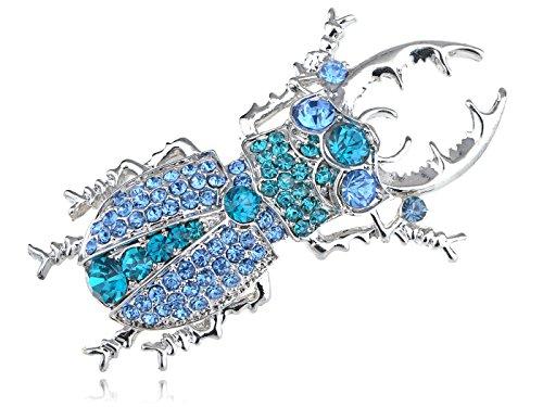 Alilang Womens Silver Tone Sapphire blau gefärbte Strasssteine Käfer Bug Insect Brooch Pin (Brooch Bug)