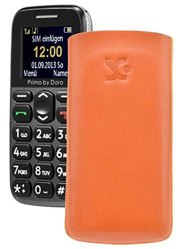 Primo 365 by Doro / Original Suncase Etui Tasche Leder Etui Handytasche Ledertasche Schutzhülle Case Hülle Lasche *mit Rückzugfunktion* orange