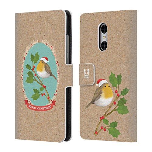 Head Case Designs Rotkelchen Weihnachtszeit Brieftasche Handyhülle aus Leder für Xiaomi Redmi Pro