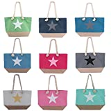 Coole Strandtasche ~ Stern Design - blau/Stern grau ~ Tasche Beach Bag Shopper Umhängetasche