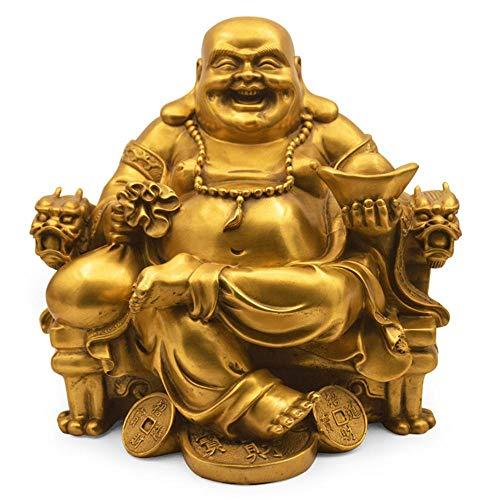 Qpw Cobre Puro Maitreya Buda Adorno artesanía 19 * 19 * 24 cm