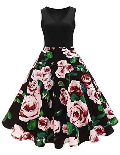 iShine elegant Rockabilly Kleid Damen Knielang V-Ausschnitt 50s Retro Vintage Faltenrock Ärmellos...