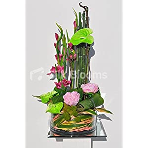 Arreglo Floral Tropical Verde Artificial, Gladioli Rosa y peonía Rosa