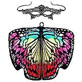 Rosennie Damen Schmetterlingsflügel Schal Frauen Mantel mit Maske Butterfly Wings Frauen Bauch Flügel Weiche Kostüm Zusatz Kimono Flügel Schal Schmetterling Wings Dance Accessories
