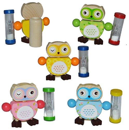 Unbekannt Zahnputzuhr / Zahnbürstenhalter - Eule mit Sanduhr für Mädchen - Eulen aus Holz für die Zahnbürste Kinder / zum Zähneputzen für 3 Minuten