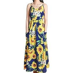 Vestido Largo Fiesta,DSUK Mujer Cuello En V Sin Mangas Cintura Elastica Transpirable Floral Vestidos Boho Elegante Paisley Relajado Cómoda Una Linea Elastico Vestido Largo Azul Marino XL