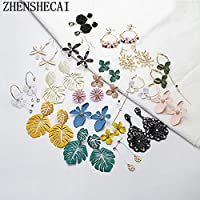 SSEHX earring Fashion Jewelry Geometric statement flower earring drop Hanging crystal charm wedding party engagement birthday earring gift