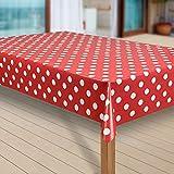 laro Wachstuch-Tischdecke Wachstischdecke Tischwäsche Abwaschbar Meterware Wachstuchdecke G10, Größe:118x240 cm, Muster:Punkte rot