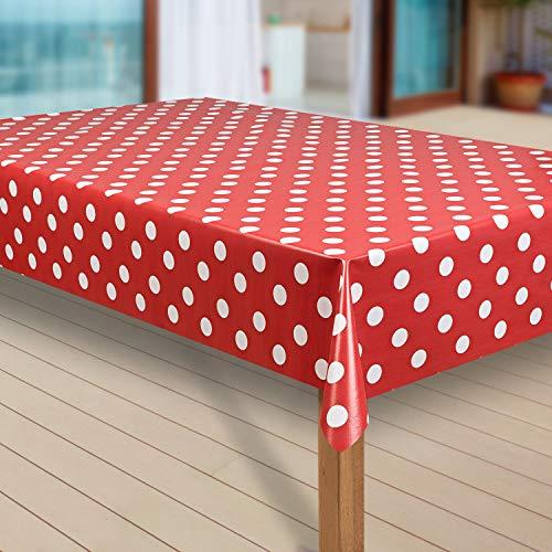 laro Wachstuch-Tischdecke Abwaschbar Garten-Tischdecke Wachstischdecke PVC Plastik-Tischdecken Eckig Meterware Wasserabweisend Abwischbar G07, Größe:40x40 cm Muster, Muster:Punkte rot