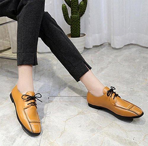 Tacco basso scarpe scarpe retrò con cravatta signora signora primavera e scarpe autunno scarpe singolare femminile a testa quadra Yellow