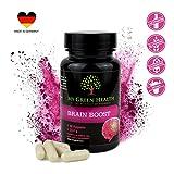 Brain Booster Konzentration Tabletten Leistung Gedächtnis Kapseln vegan 60 Stück natürlich ohne Koffein | Made in Germany