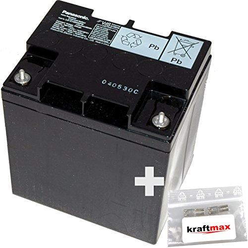 1x Panasonic 12V / 24Ah AGM Blei-Akku - LC-P1224APG [ M5 Gewinde ] VdS geprüft - inkl. 2x Original Kraftmax Anschluß-Adapter