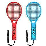 maexus Tennisschläger für Nintendo Schalter Joy-Con, Zubehör für Mario Tennis Aces Spiel, Griff für Schalter Joy-Con (Blau und Rot)