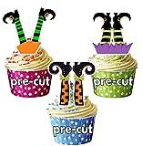 Vorgeschnittene Halloween Hexenbeine - Essbare Cupcake Topper / Kuchendekorationen (12 Stück)