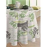nappe toile ciree ronde fleur verte moderne 135cm tissu enduit de plastique cuisine. Black Bedroom Furniture Sets. Home Design Ideas