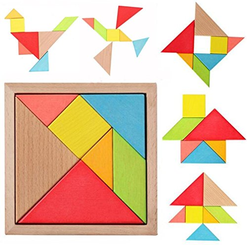 Farraige 7 Piece Children kids Educational Toy Colorful Wooden Brain Training Geometry Intelligence Tangram Puzzle