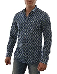 chemise scotch and soda longsleeve all-over printed shirt in big indian gr bleu