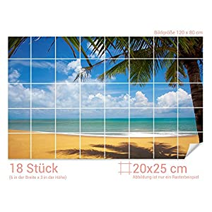 GRAZDesign Fliesentattoo Bad Strand - Aufkleber für Badfliesen Meeresblick - Fliesenfolie Meer - Fliesenaufkleber Palmen/Fliesenmaß: 20x25cm (BxH) / 761008_20x25_80