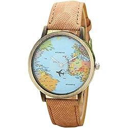 FEITONG Damenuhr Kleiden Uhr Global Travel Mit dem Flugzeug Karte Muster Denim-Gewebe-Band Armbanduhr Kaffee