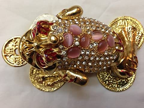 Plush Image Large Three Legged Toad Money Frog Trinket Box Jewelry Box With Inlaid Crystal Symbol Of Prosperity In Feng Shui by Plush Image