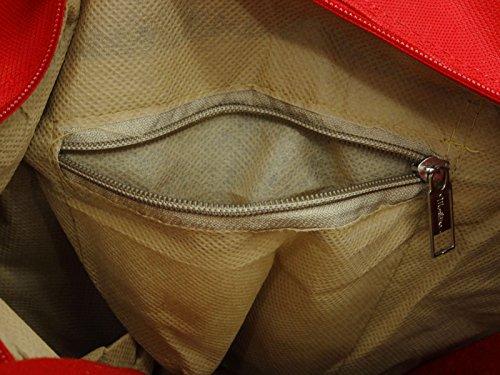 """Frauen Schulter Tribal Druck Tasche Baumwolle Jute beiläufige Damen Strandtasche Favor Bag 15,5"""" x 11,5"""" Zoll Beige und Rot"""