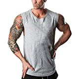 OSYARD Herren Sommer T-Shirt, Men's Fitnessstudios Bodybuilding Tops Fitness Ärmelloses Muskelshirt Weste,Heißer Freizeit Rundhals Solide Tank
