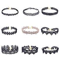 lumanuby 9pcs encaje simple cuello collar Set traje unique personalidad corto collar de las mujeres niñas joyas accesorios