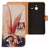 Lankashi PU Flip Leder Tasche Hülle Case Cover Schutz Handy Etui Skin Für Microsoft Lumia 640 XL Dual Sim 4G Wing Girl Design