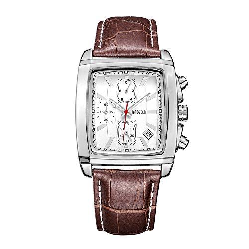 Uhren für Männer Braun Leder Strap Weiß Rechteck Dial Analog Chronograph Quarz Wasserdicht–aimal