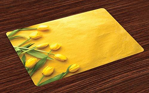 ABAKUHAUS Gelb Platzmatten, Dänische niederländische Tulpen auf farbigem Wand-Garten-Blumenliebes-Lilien-Kraut-kunstvollem Druck, Digitaldruck auf Waschbaren Stoff Tischdekoration Küche, Gelb Grün (Dekorative Kraut Platten)