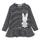 JERFER Kleinkind Kinder Baby Mädchen Stickerei Kaninchen Gestreift Prinzessin Kleid Outfits Kleidung 3-7 Jahre (4T, Schwarz)