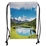 ZKHTO Drawstring Sack Backpacks Bags,Lake House Decor,Mountain Landscape with Forest and Lake in Sunny Cloudy Sky Summer Nature Print,Green Blue White Soft Satin,5 Liter Capacity,Adjustable S