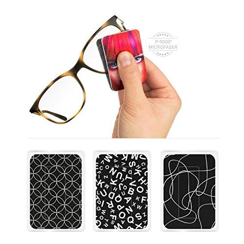 POLYCLEAN 3X PocketCleaner® - geniales Brillen-Putztuch und Displaytuch mit Antirutsch-Beschichtung für Brillen und Smartphone Displays - Made in Germany (12 x 4 cm, Motiv Black and White, 3 Stück)