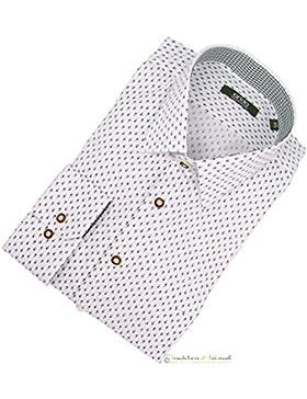Trachtenhemd Herren Arido Kent Langarm weiß