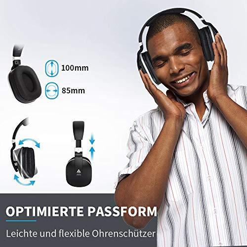 Artiste ADH300 Wireless TV Kopfhörer, 2.4GHz UHF/RF Over-Ear Digital Stereo Kopfhörer für TV, 100ft Distanz Sender Wiederaufladbare Ladestation - 6