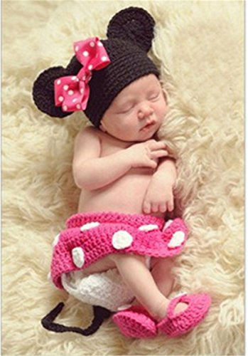 YouPei® neugeborenes Baby Boy häkeln Strickmütze Kostüm Foto Fotografie Prop Outfits (Rose Red)