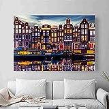 jiushice Senza Telaio Amsterdam Paesaggi Foto Poster e Stampe Arte murale Quadro Decorativo Tela per Soggiorno Home Decor und 60X90CM
