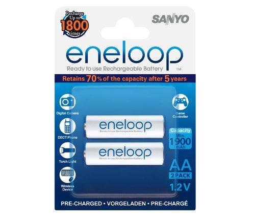 SANYO eneloop AA Readyto Use MignonNI-MH Akku HR-3UTGB-2BP (1900 mAh, 2er Pack)