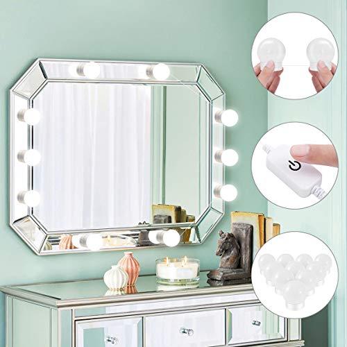 LED Vanity Spiegelleuchte Kit, YUNLIGHTS Hollywood Stil 10 Stücke 4000K dimmbar Spiegellampe Badleuchte für Bad Schminkspiegel (Spiegel nicht enthalten) (Make-up-spiegel-leuchten)