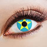 aricona Kontaktlinsen Farblinsen blaue Kontaktlinsen farbig mit Stern Motiv für Cosplay Kostüm