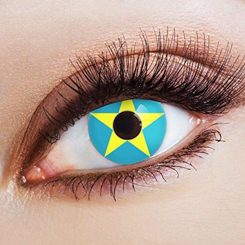 aricona Kontaktlinsen Farblinsen blaue Kontaktlinsen farbig mit Stern Motiv für Cosplay ()