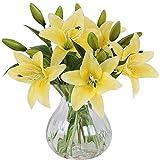 L&Z Künstliche Blumen Rosa Lilie,5 Stück Realistisch Blumensträuße Natürliche Lilie mit 3 Blütenknospen Ideal für Hochzeit Sträuße Vase Dekoration